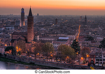 Verona, Italy from above at dawn, view with river