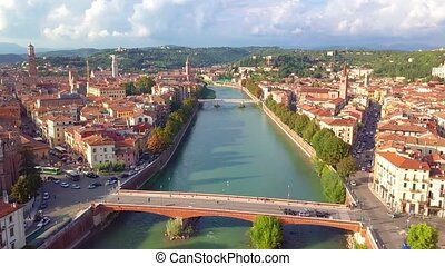 Verona Italy Skyline Aerial view from sky, video in 4K, Italy. Aerial view of verona city center flying forwards at dawn