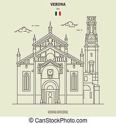 verona, katedra, punkt orientacyjny, italy., ikona