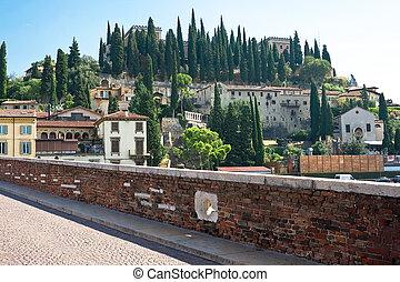 Verona landscape and Adige river, Italy