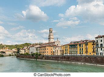 Verona skyline with Adige river, Italy - Verona skyline with...