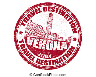 Grunge rubber stamp with the text travel destinations Verona inside, vector illustration