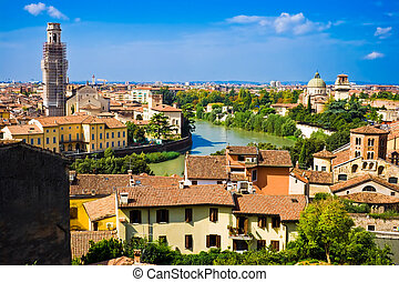 Verona panoramic view from the hill, Italy