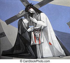 veronica, estações, 6º, jesus, crucifixos, rosto, wipes