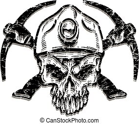 verontruste, mijnwerker, schedel