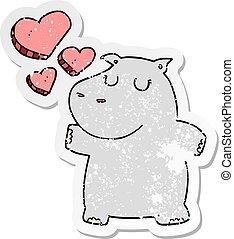 verontruste, nijlpaard, sticker, liefde, spotprent