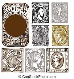verontruste, postzegels, set, retro, vector