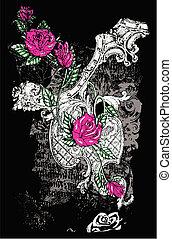 verontruste, roos, zich verbeelden, achtergrond