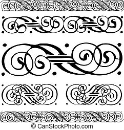 verontruste, set, ornament, vector