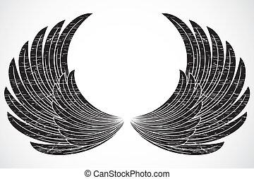 verontruste, vector, vleugels