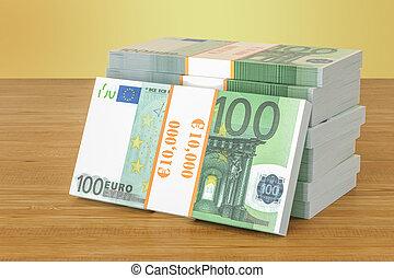 verpackt, hölzern, übertragung, euro, tisch., 3d