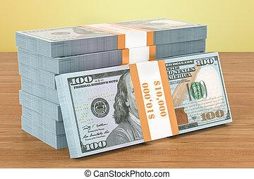 verpackt, hölzern, dollar, übertragung, tisch., 3d