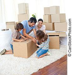 verpackung, belebt, kästen, familie