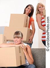 verpackung, kästen, flat-mates, weibliche , drei