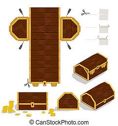 verpackung, kasten, brust, schatz, design