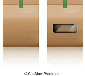 verpackung, reflektieren, tasche, papier, hintergrund, weißes