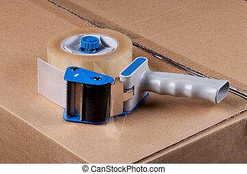 verpackung, verteiler, band, gewehr