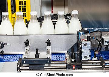 verpakking, lijn, flessen, melk