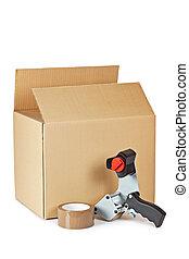 verpakking, reep uitgifteautomaat, en, expeditie, doosje