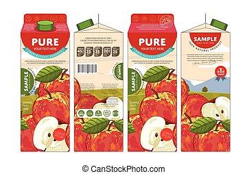 verpakking, sap, ontwerp, appel, mal
