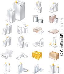 verpakking, set, pictogram