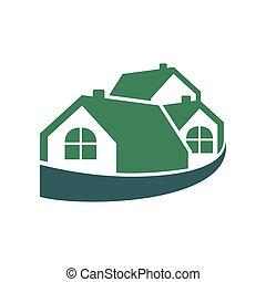 verpakte, woning, groep, groene, logo