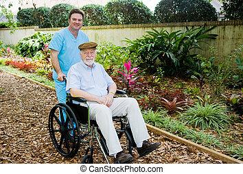 verpleeghuis, -, gang binnen, de, tuin