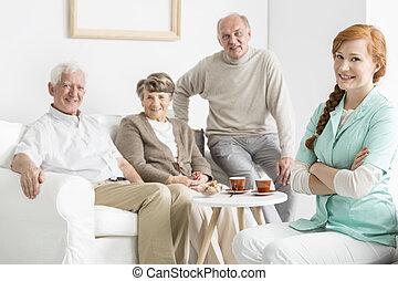 verpleeghuis, met, ouwetjes