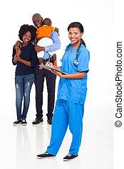 verpleegkundige, amerikaan, vrouwlijk, gezin, afrikaan