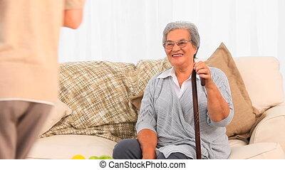 verpleegkundige, bezoeken, haar, middelbare leeftijd ,...