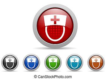 verpleegkundige, glanzend, web beelden, set, op wit, achtergrond