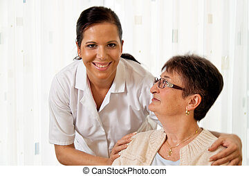 verpleegkundige, in, oudere zorg, voor, de, bejaarden