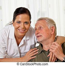 verpleegkundige, in, oudere zorg, voor, ouwetjes, in, verpleeghuizen
