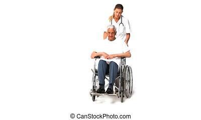 verpleegkundige, met, haar, mannelijke , patiënt, in, whee