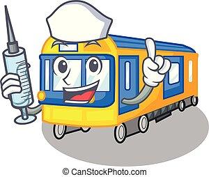verpleegkundige, metro trein, speelgoed, in vorm, mascotte