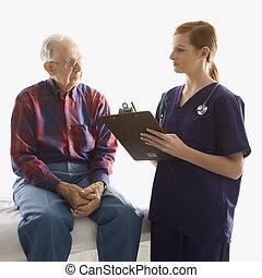 verpleegkundige, patient.