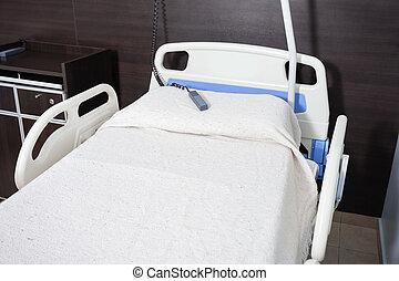 verpleegkundige, roep klok, op bed, in, rehabilitatie,...