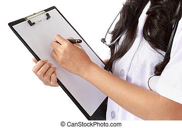 verpleegkundige, schrijvende , medische verslagen