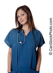 verpleegkundige, schrob, jonge