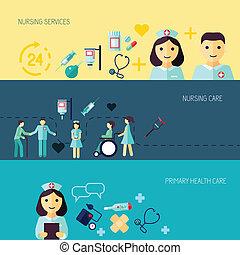 verpleegkundige, set, spandoek, pictogram