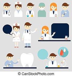 verpleegkundige, symbool, set, arts, iconen