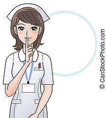 verpleegkundige, vragen, jonge, stilte
