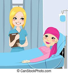 verpleegkundige, vrouw, bezoek, senior