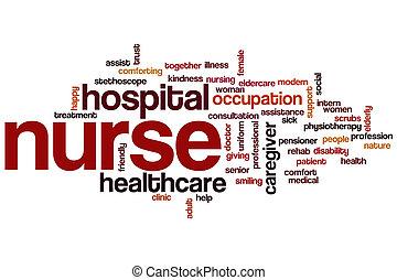 verpleegkundige, woord, wolk