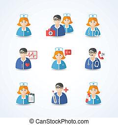 verpleegkundigen, geneeskunde, artsen, set, iconen