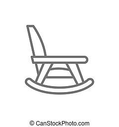 verpleging, stoel, thuis, lijn, wiegen, icon., meubel