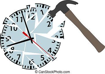 verpletteren, klappen, klok, stukken, tijd, hamer