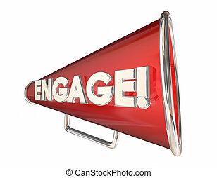 verplichting, bullhorn, megafoon, communicatie, woord, 3d, illustratie