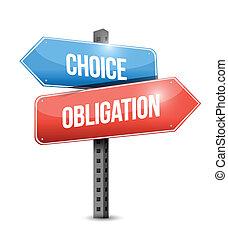 verplichting, ontwerp, illustratie, keuze