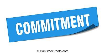 verplichting, peeler, teken., sticker., plein, commitment.